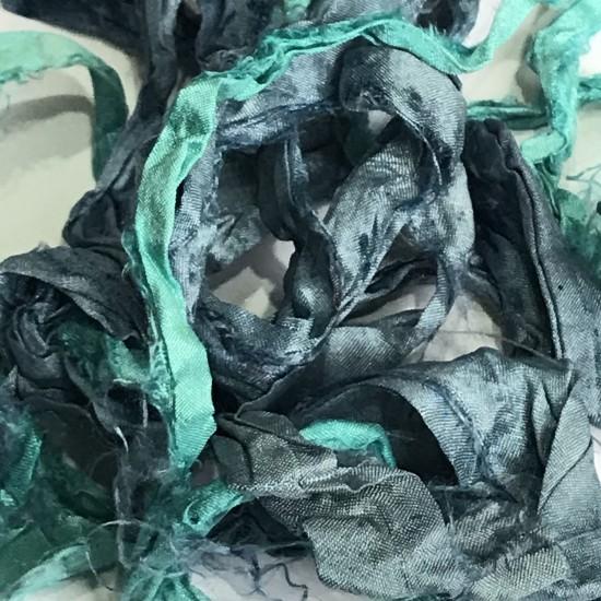 Hand Dyed Sari Silk Ribbon Scraps-Aqua and Blue