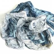 Hand Dyed Sari Silk Ribbon Scraps-Blue