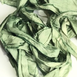 Hand Dyed Sari Silk Ribbon Scraps- Green