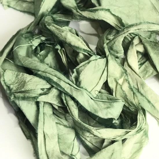 Hand Dyed Sari Silk Ribbon Scraps- Green