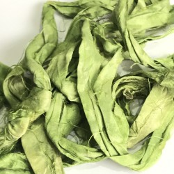 Hand Dyed Sari Silk Ribbon Scraps-Lime Green