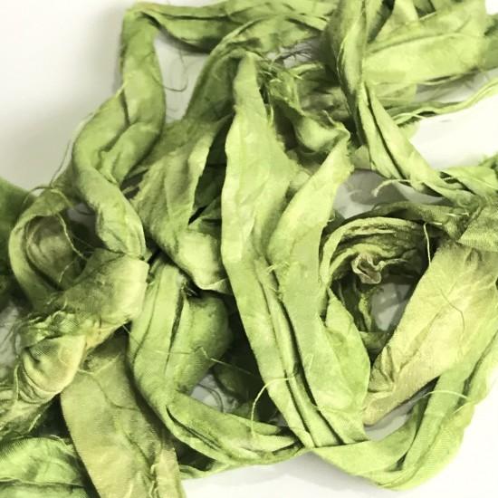 Hand Dyed Sari Silk Ribbon Scraps-Lime Green