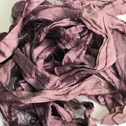 Hand Dyed Sari Silk Ribbon Scraps-Purple