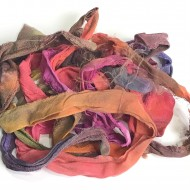 Steff Francis Hand Dyed Sari Silk Chiffon Ribbon-vibrant 3 Meters